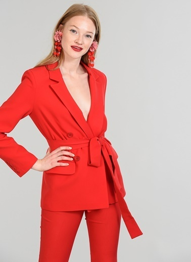 People By Fabrika Kuşaklı Kruvaze Ceket Kırmızı